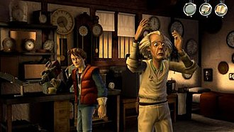 Back to the Future: The Game - An in-development screenshot showing the simple user interface and the character designs for Marty McFly and Doc Brown. Both Michael J. Fox and Christopher Lloyd allowed the developers to use their likenesses within the game.