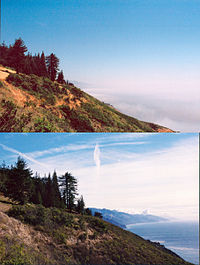 Pictures taken on afternoons in June (upper) and December (lower).  The summer picture shows a typical fog bank nearly 1,000 feet (300 m) thick.