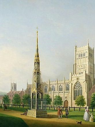 Bristol High Cross - The cross in its second location beside the cathedral.  This painting of it was made by Samuel Scott in about 1750.