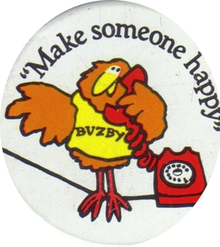 A badge featuring Buzby and his catchphrase