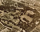 Annotated 1950's aerial view of the main part of the old South Campus of City College, with many former CCNY buildings marked with their names. (Click on photo to enlarge)