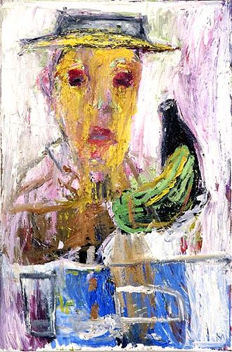 Billy Childish - Billy Childish. The Drinker, oil painting, 1996.