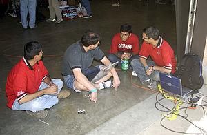 CajunBot - CajunBot team members at 2004 DARPA Grand Challenge