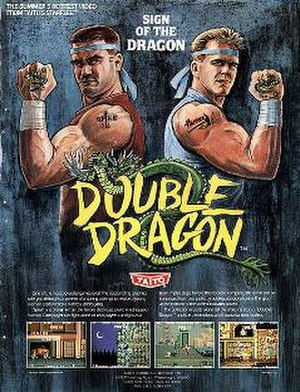"""Double Dragon (video game) - American promotional flyer for the arcade release by Taito. In this flyer, the main characters have their localized names as """"Hammer"""" and """"Spike""""."""