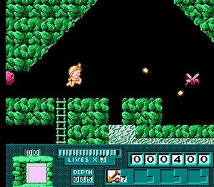 Digger T. Rock - A still image of gameplay. The bottom of the screen show's Digger's inventory, score and remaining lives