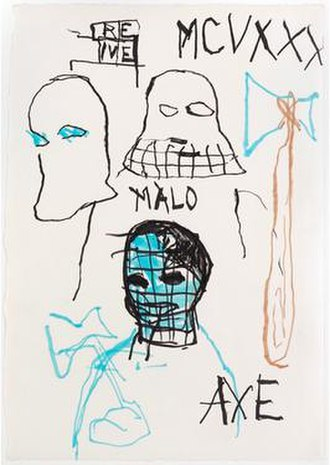 Jean-Michel Basquiat - Basquiat drawing of the supportive art critic Rene Ricard, Untitled (Axe/Rene), 1984