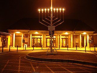 Edgware - Hanukkah menorah outside Edgware Underground station, 2006