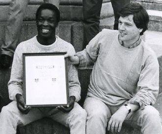 Karim Alrawi - Karim Alrawi with Joint Stock receives Edinburgh Fringe First Award 1985, Edinburgh, Scotland