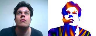 Shader - Shaders can also be used for special effects. An example of a digital photograph from a webcam unshaded on the left, and the same image with a special effects shader applied on the right which replaces all light areas of the image with white and the dark areas with a brightly colored texture.