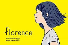 "A cartoon pale girl with black hair looks to the left. ""Florence: an interactive story about love and life"" is on the lefthand side. There is a yellow background."