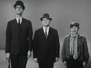 The Frost Report - Cleese, Barker, and Corbett in the Class sketch broadcast in April 1966