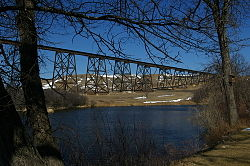 Hi Line Railroad Bridge as seen from Chautauqua Park, Valley City, ND