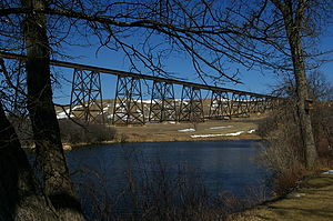 Hi-Line Railroad Bridge - Hi-Line Railroad Bridge as seen from Chautauqua Park, Valley City