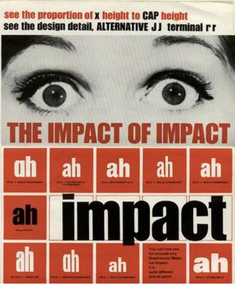 Impact (typeface) - The front page of the original brochure promoting Impact. This image is Lee's own copy.