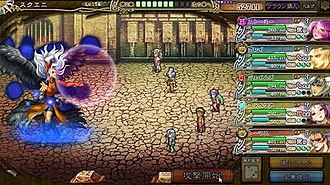 Imperial SaGa - A battle in Imperial SaGa; while adjusted for browsers, the basic gameplay is carried over from the mainline SaGa series.