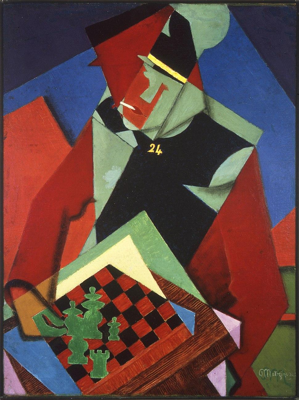 Jean Metzinger, 1915, Soldat jouant aux échecs (Soldier at a Game of Chess), oil on canvas, 81.3 x 61 cm, Smart Museum of Art