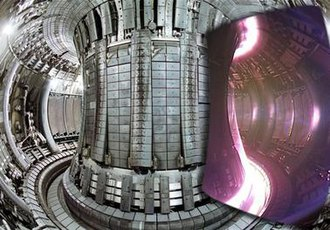 Joint European Torus - Internal view of the JET tokamak superimposed with an image of a plasma taken with a visible spectrum video camera.