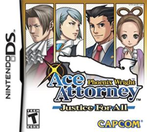 Phoenix Wright: Ace Attorney − Justice for All - North American cover art featuring (from left to right) Edgeworth, Franziska, Phoenix, and Pearl
