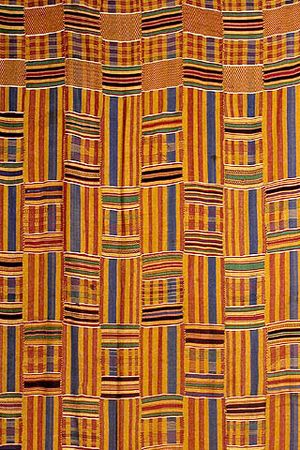 Ashanti Empire - Kente cloth, the traditional garment worn by Ashanti royalty,o has been widely adopted throughout the Ashanti Kingdom.