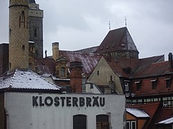 The Klosterbräu brewery and the rooftops of Bamberg.