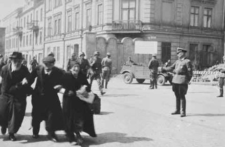 Krakow Ghetto, 1942--a German checkpoint during operation Aktion Krakau Krakow-Ghetto-checkpoint.jpg
