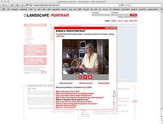 Landscape-Portrait - The image details the Landscape-Portrait website, currently playing Sonia's video portrait.