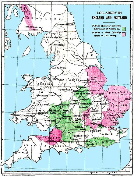 Spread of Lollardy in medieval England and medieval Scotland. Lollardmap.jpg
