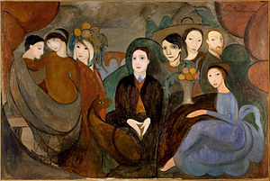 Marie Laurencin - Marie Laurencin, 1909, Réunion à la campagne (Apollinaire et ses amis), oil on canvas, 130 x 194 cm, Musée Picasso, Paris. Reproduced in The Cubist Painters, Aesthetic Meditations (1913)