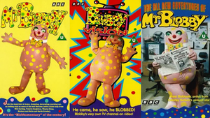 Mr Blobby - VHS covers of the three Mr Blobby releases.