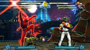 Marvel vs. Capcom 3: Fate of Two Worlds - Deadpool battles Ryu on the Kattelox Island stage. Here, Deadpool activates his X-Factor, granting him and his team increased damage, speed, and health regeneration.