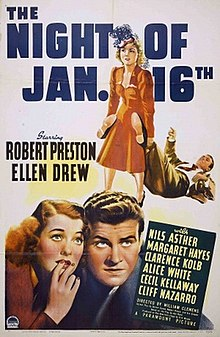 Color movie poster for The Night of January 16th. In the top half, a woman drags a man's body by his feet. In the bottom half, a man and woman look up apprehensively.