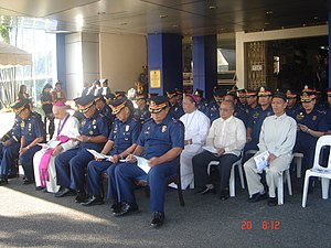 Military Ordinariate of the Philippines - Philippine National Police top brass and the Military Bishop welcome the Papal Nuncio, Archbishop Fernando Filoni (now Cardinal Prefect of the Congregation for the Evangelization of Peoples, Vatican), during his visit to the PNP National Headquarters.