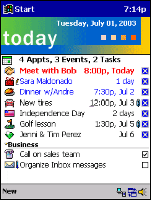 Windows Mobile - Pocket PC 2000 Today Screen.