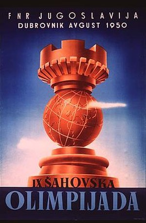 9th Chess Olympiad - The official poster for the Olympiad.