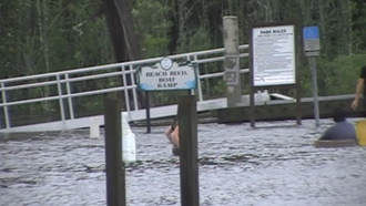 Pottsburg Creek - The flooded boat ramp of Pottsburg Creek during Tropical Storm Fay.
