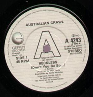 Reckless (Australian Crawl song) - Image: Reckless Single Front 01