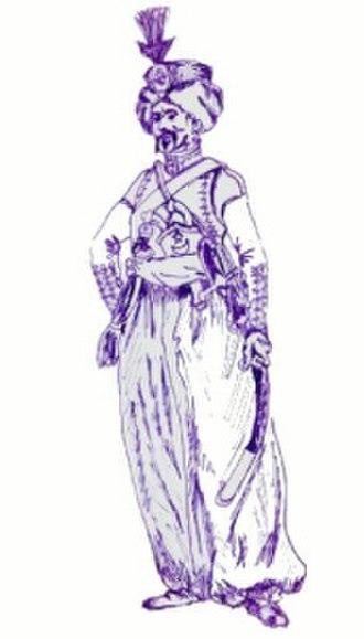 Roustam Raza - Depiction of Roustam Raza in traditional mamluk uniform.