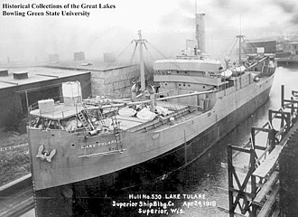 USS Lake Tulare (ID-2652) - SS Lake Tulare at the Superior Shipbuilding Company yard in Superior, Wisconsin, on 24 April 1918.