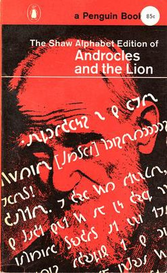 Shavian alphabet - The Shaw Alphabet Edition of Androcles and the Lion, 1962. Paperback cover design by Germano Facetti