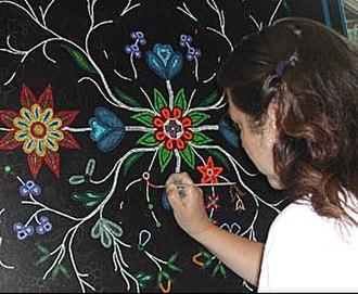 Christi Belcourt - Christi Belcourt as an Artist in Residence at the McMichael Art Gallery, Kleinburg, ON, 2004