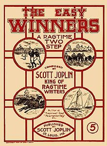Front cover of the Easy Winners sheet music shows four line drawings of American sport - Baseball, Horseracing, American football, and yacht racing. The title is shown at the top of the page in large black lettering