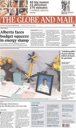 The Globe and Mail - The January 25, 2013 front page of The Globe and Mail
