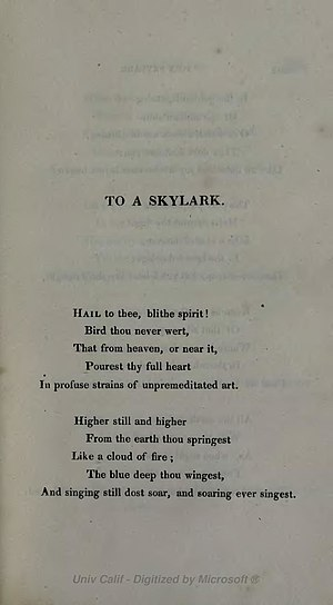 To a Skylark -  1820 publication in the Prometheus Unbound collection.