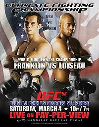 A poster or logo for UFC 58: USA vs. Canada.