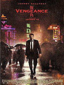 Several neon lights and buildings are seen in the background of a rainy setting. A man walks on a street, wielding a handgun in his right hand. Passerbys are seen in the background behind the man, walking in different directions and holding umbrellas.  The top of the poster lists the Festival de Cannes logo, the film's lead actor, the title in both English and Chinese, and the film's director; the bottom right of the poster lists the production credits.