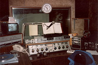 WMNY - WKPA on-air studio in 1990, while at its original studio building at 810 Fifth Avenue in New Kensington. This studio was switched to production use only the following year, when a newer studio with more state-of-the-art equipment was put on the air.