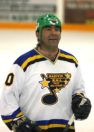 "Wayne Babych - Wayne Babych at charitable game ""NHL All Stars vs NHL Old Timers"" in Vegreville, Alberta, 2005"