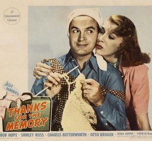 Thanks for the Memory (film) - Lobby card featuring stars Bob Hope and Shirley Ross in a posed production still