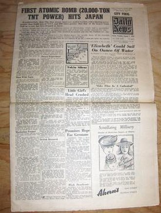 Daily News (Perth, Western Australia) - Daily News front page of 7 August 1945, announcing the atomic bombing of Hiroshima, Japan.