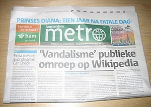 Metro International - The Amsterdam version of Metro from 31 August 2007, showing a headline about vandalism on Wikipedia